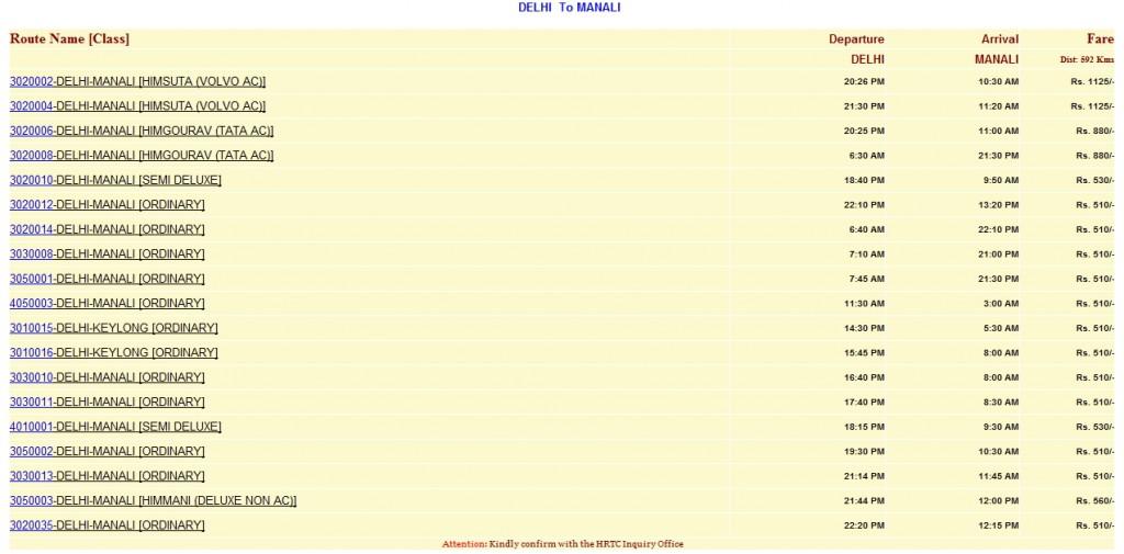 Delhi to Manali bus timings