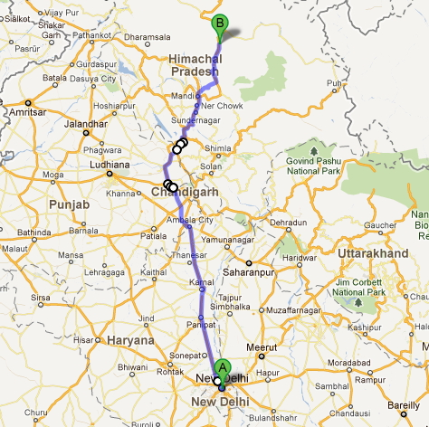 delhi to manali map